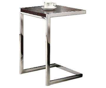 Snack/Side Table w/ Cappuccino Wood Top & Chrome Base