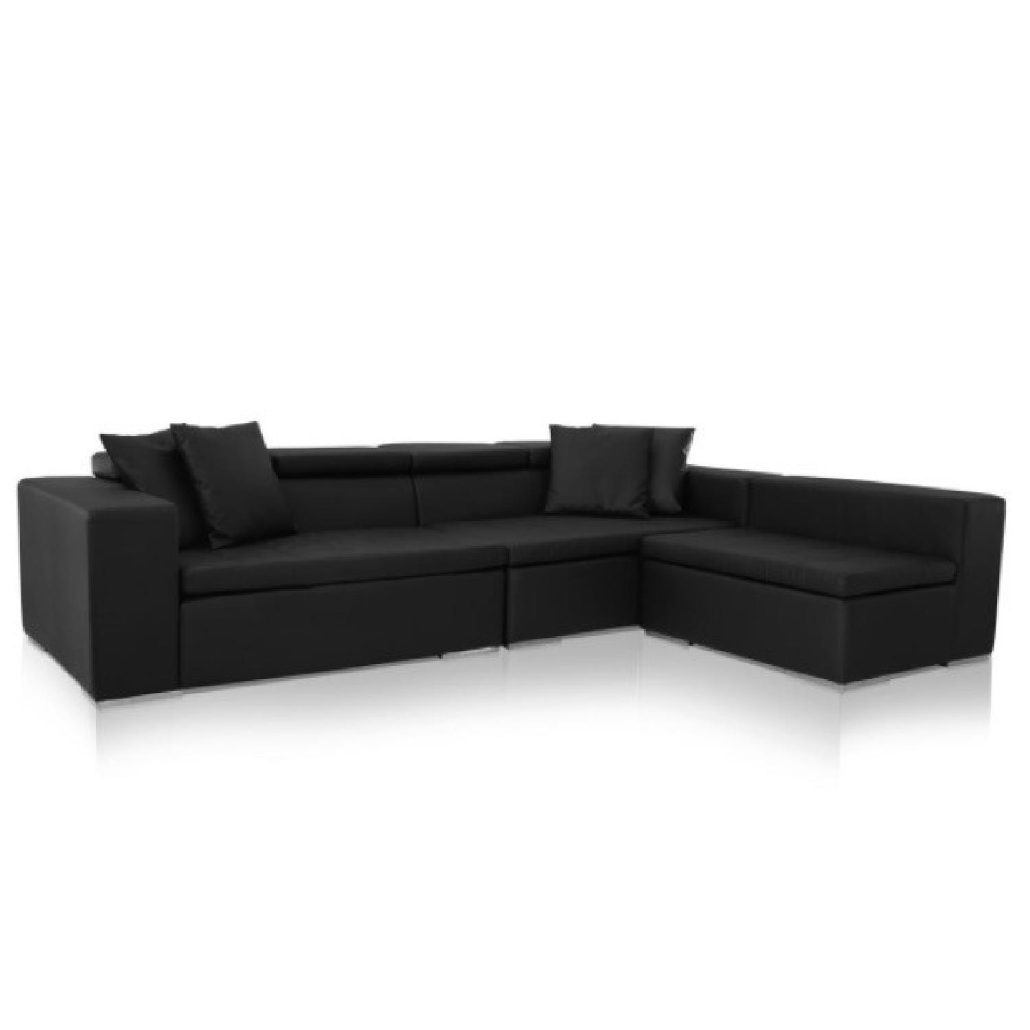 Monaco Leather Modern Sectional Sofa in Black - image-0
