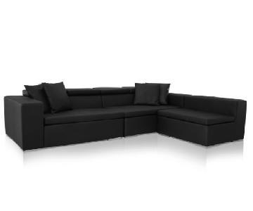 Monaco Leather Modern Sectional Sofa in Black