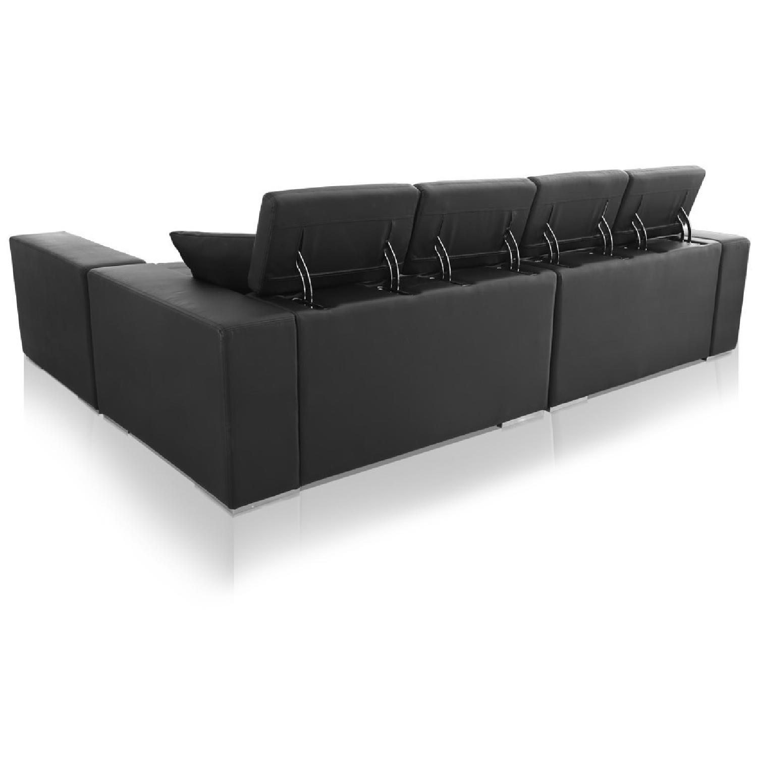 Monaco Leather Modern Sectional Sofa in Black - image-1