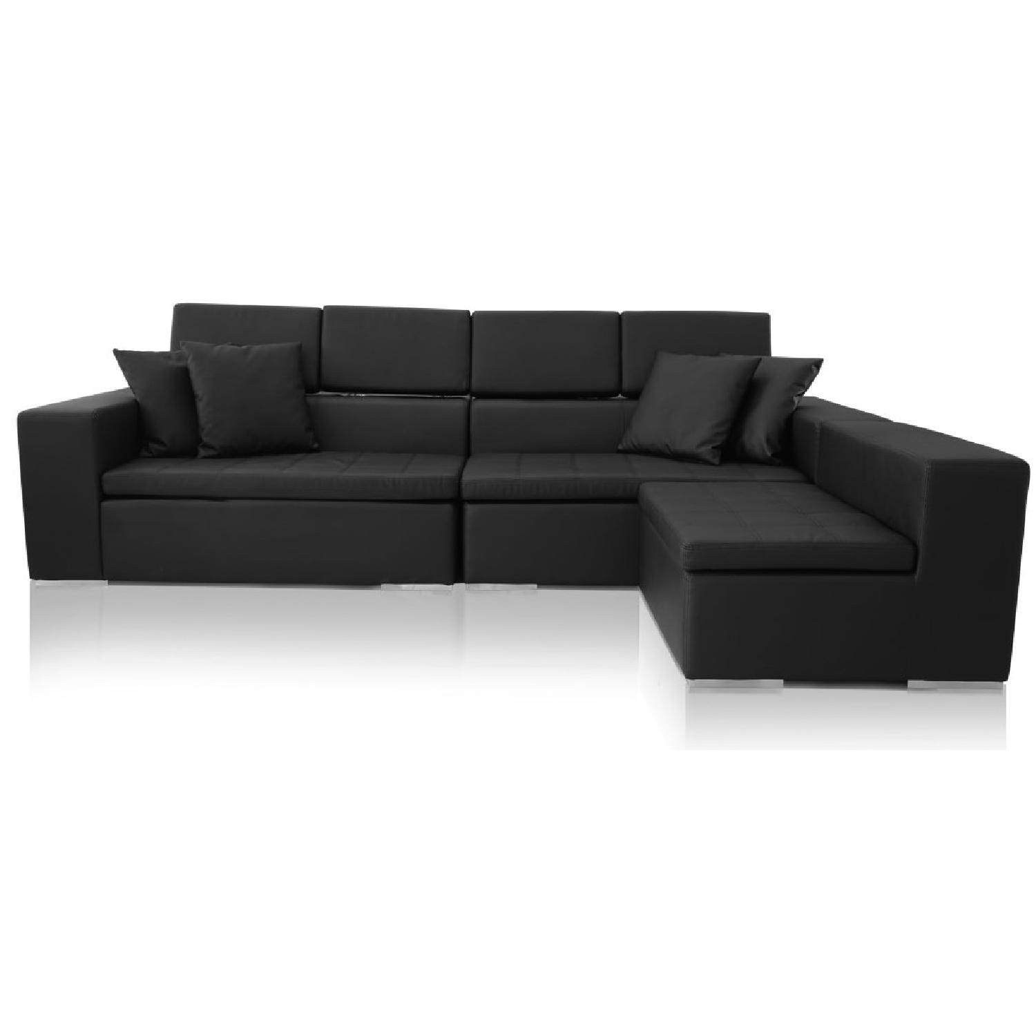 Monaco Leather Modern Sectional Sofa in Black - image-3