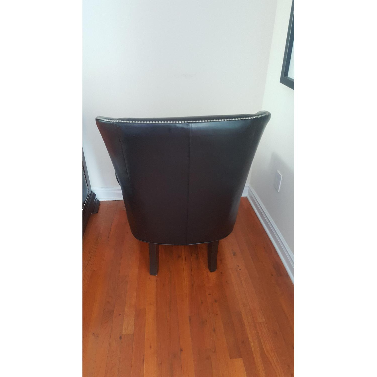 Macy's Black Leather Nail Head Chair - image-2