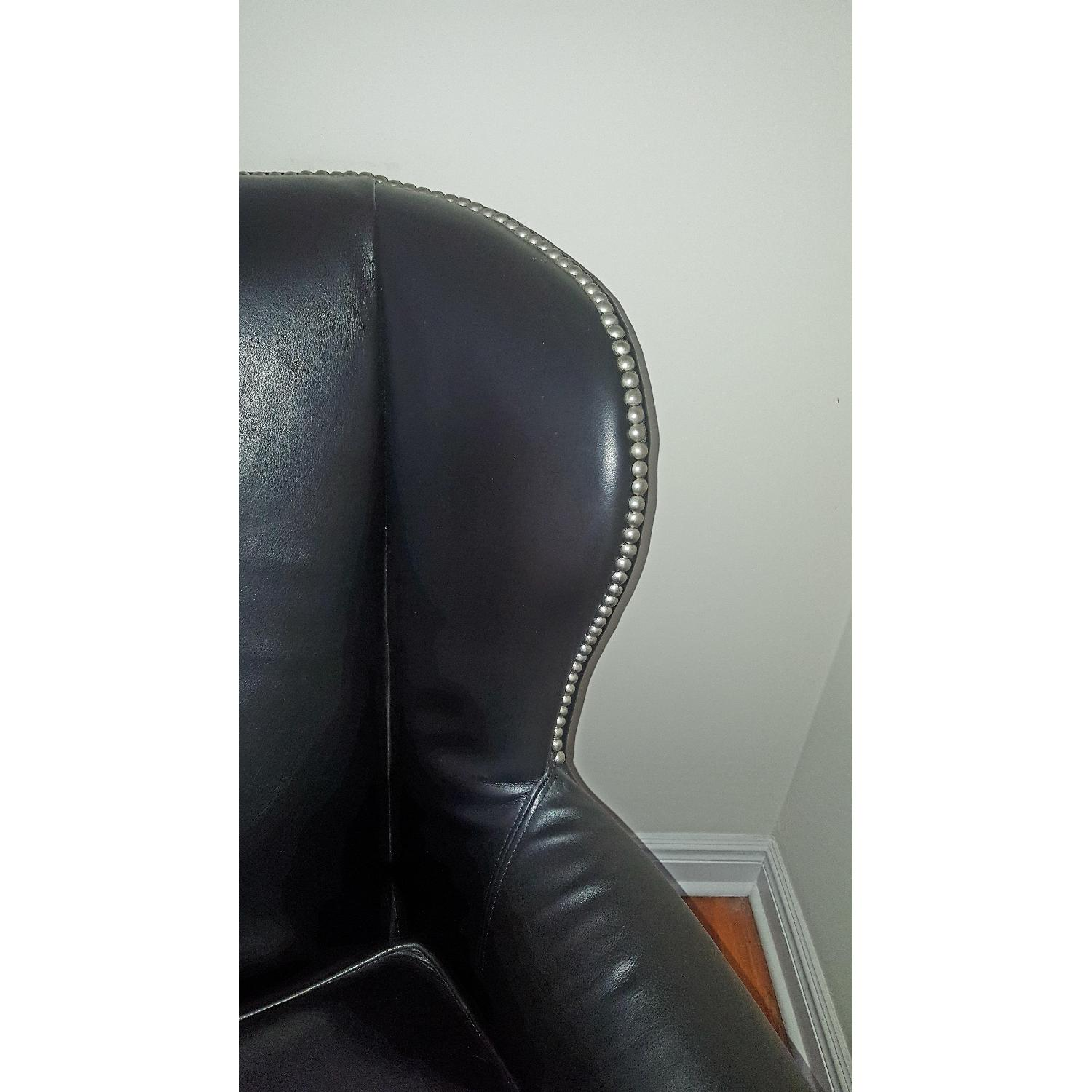 Macy's Black Leather Nail Head Chair - image-3