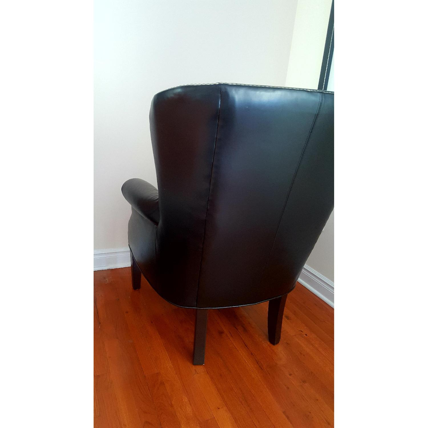 Macy's Black Leather Nail Head Chair - image-4