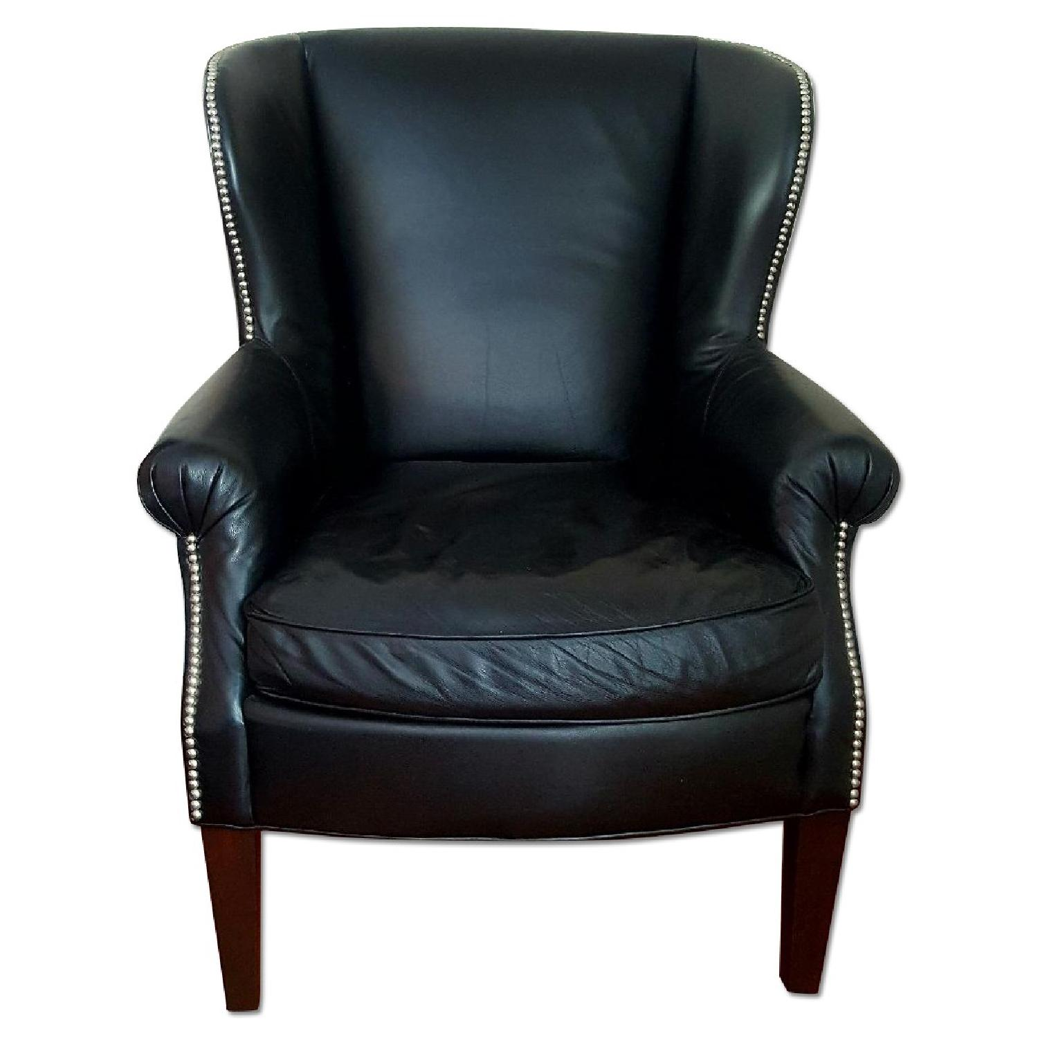 Macy's Black Leather Nail Head Chair - image-0