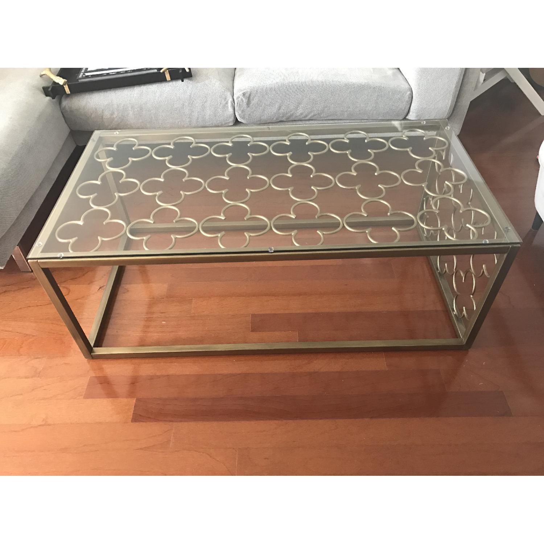 Quatrefoil Goldtone Metal & Glass Coffee Table - image-1
