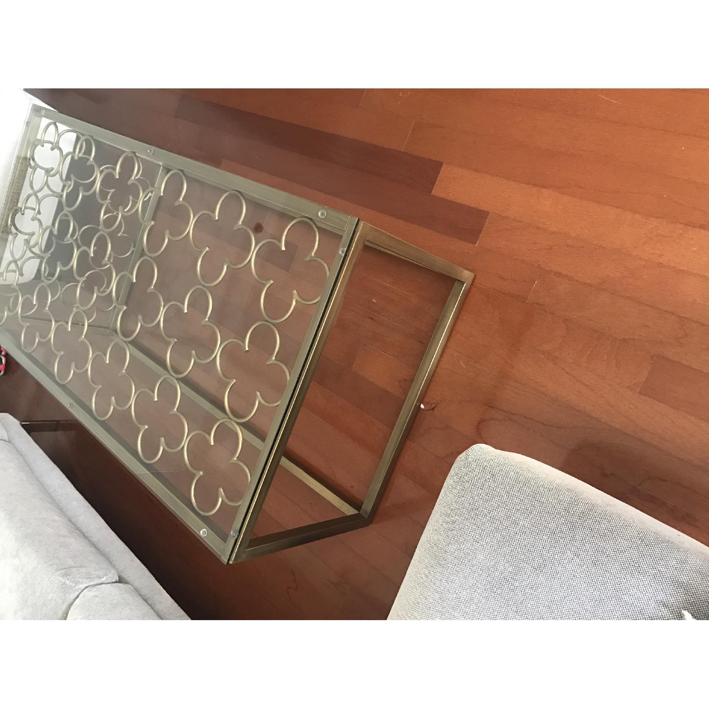 Quatrefoil Goldtone Metal & Glass Coffee Table - image-3