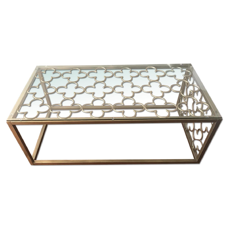 Quatrefoil Goldtone Metal & Glass Coffee Table - image-0