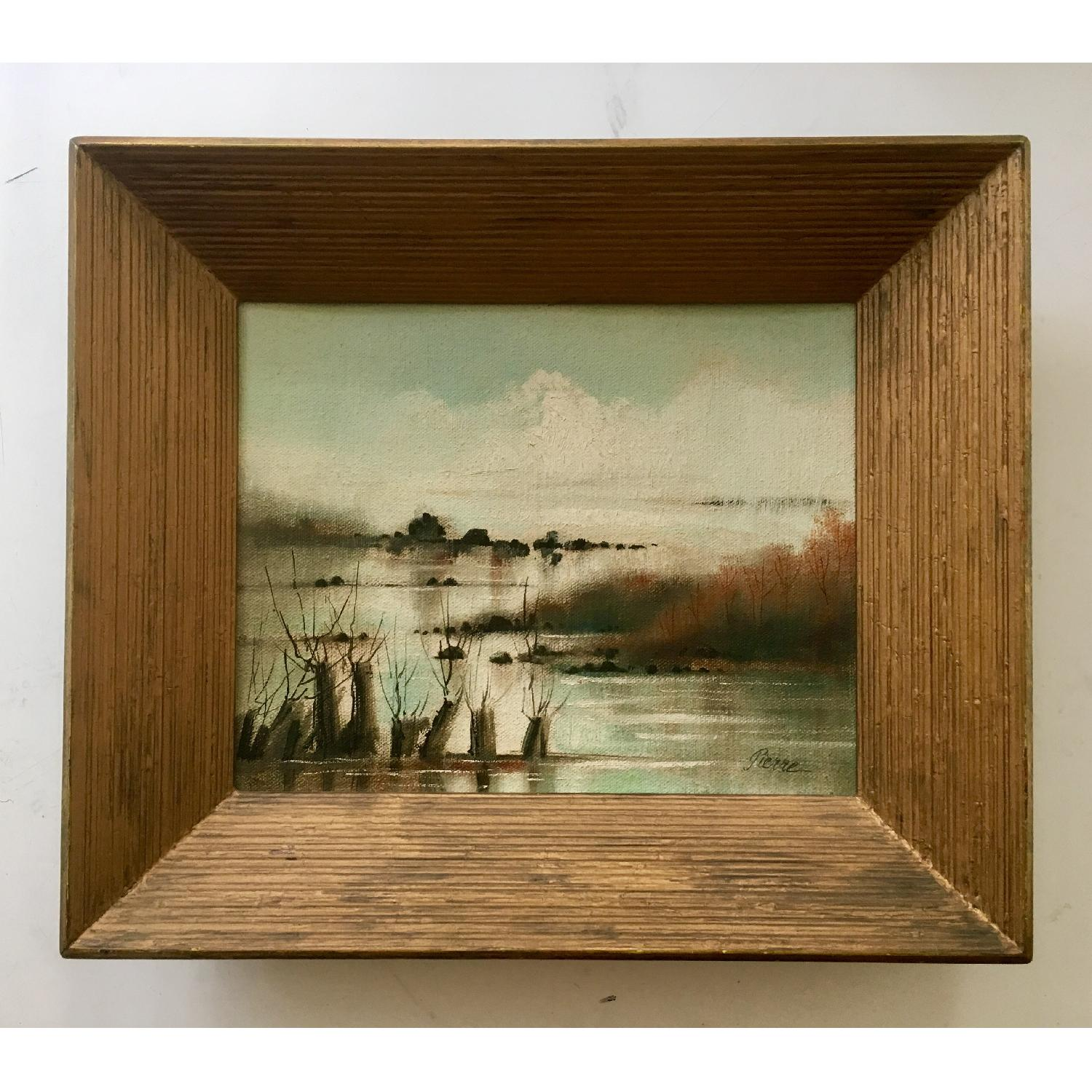 Vintage Dreamy Beach Waterscape Painting - image-1