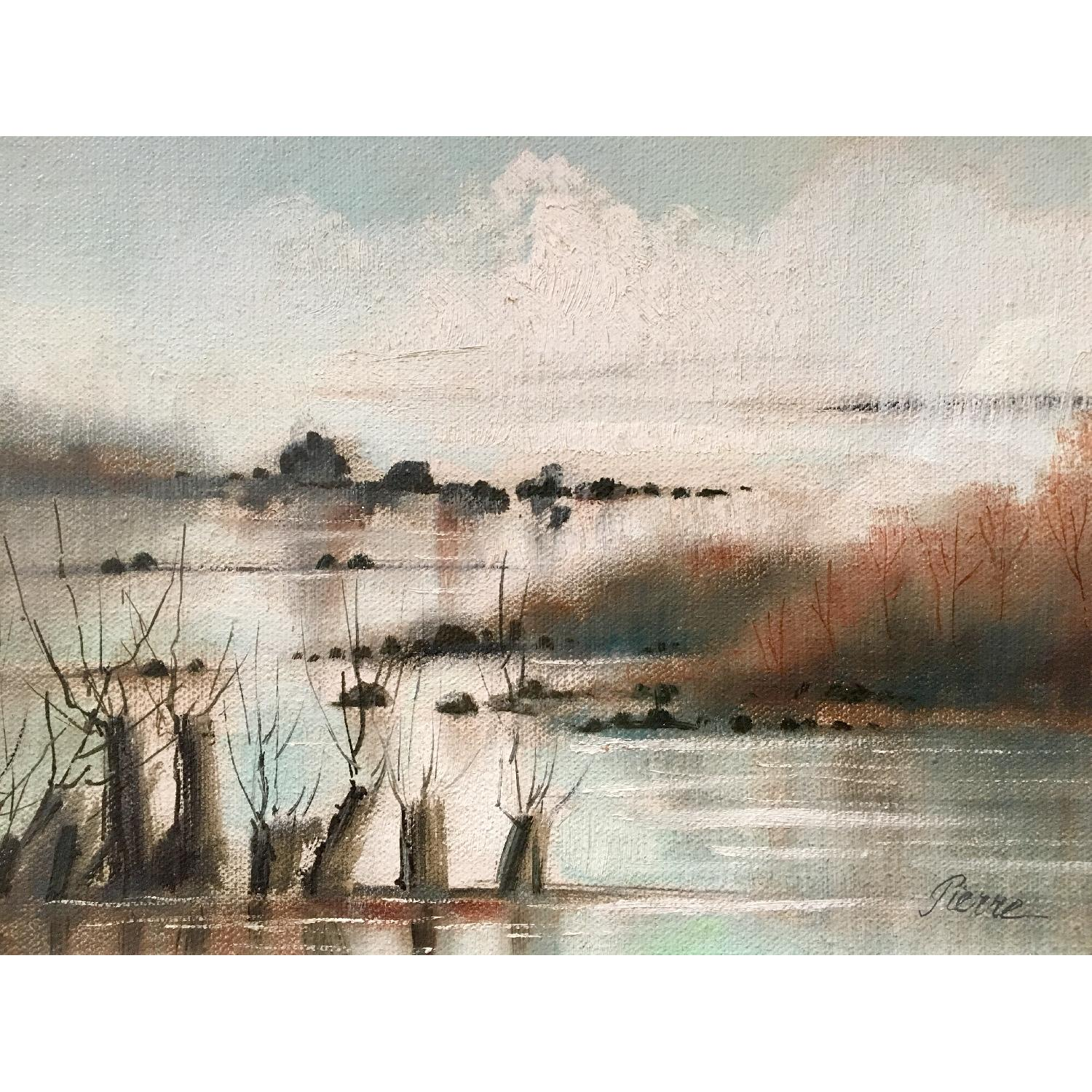 Vintage Dreamy Beach Waterscape Painting - image-2