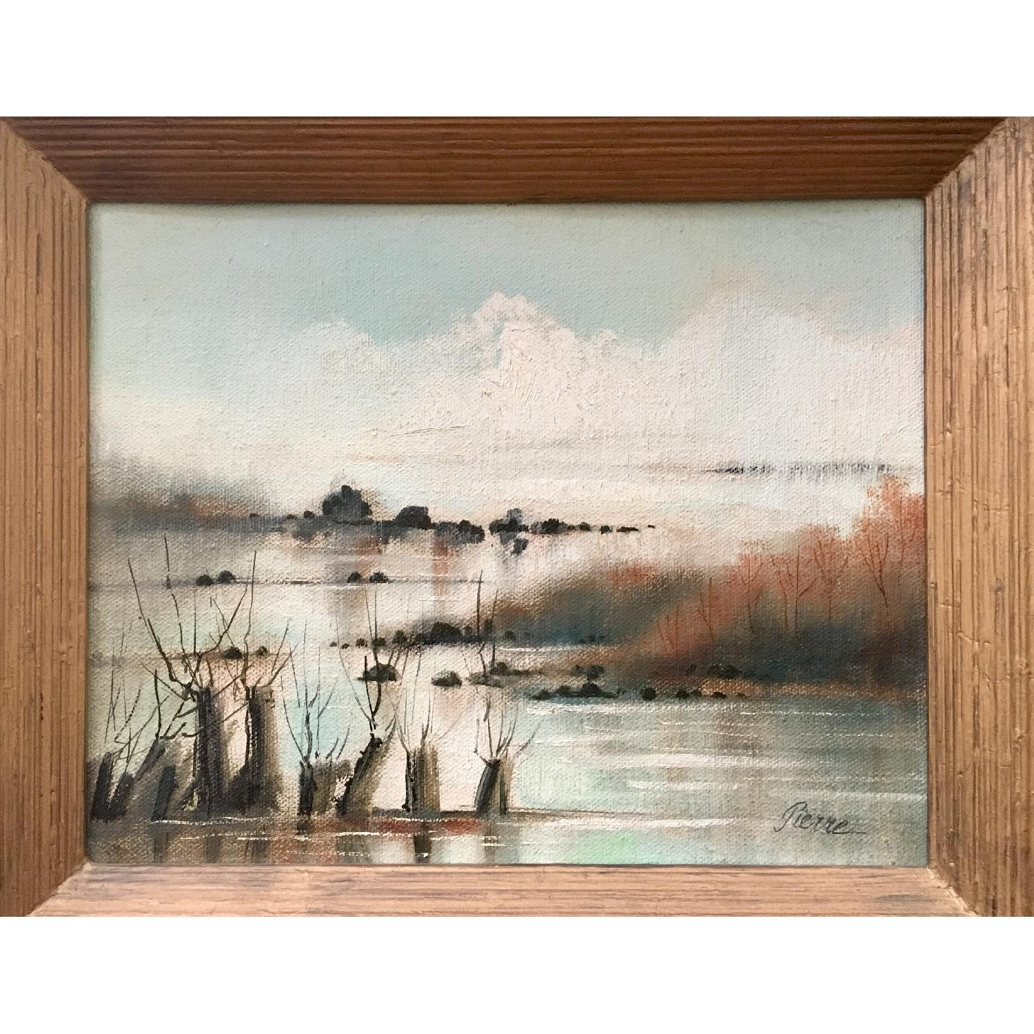 Vintage Dreamy Beach Waterscape Painting - image-3