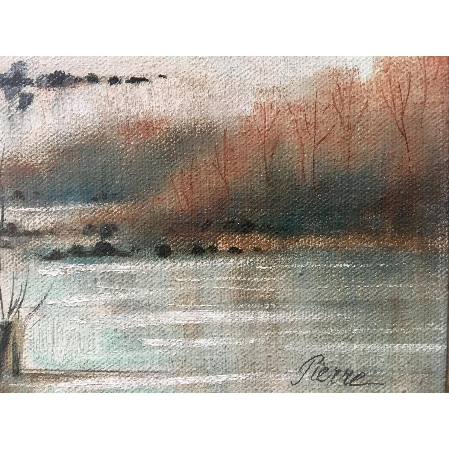 Vintage Dreamy Beach Waterscape Painting - image-4
