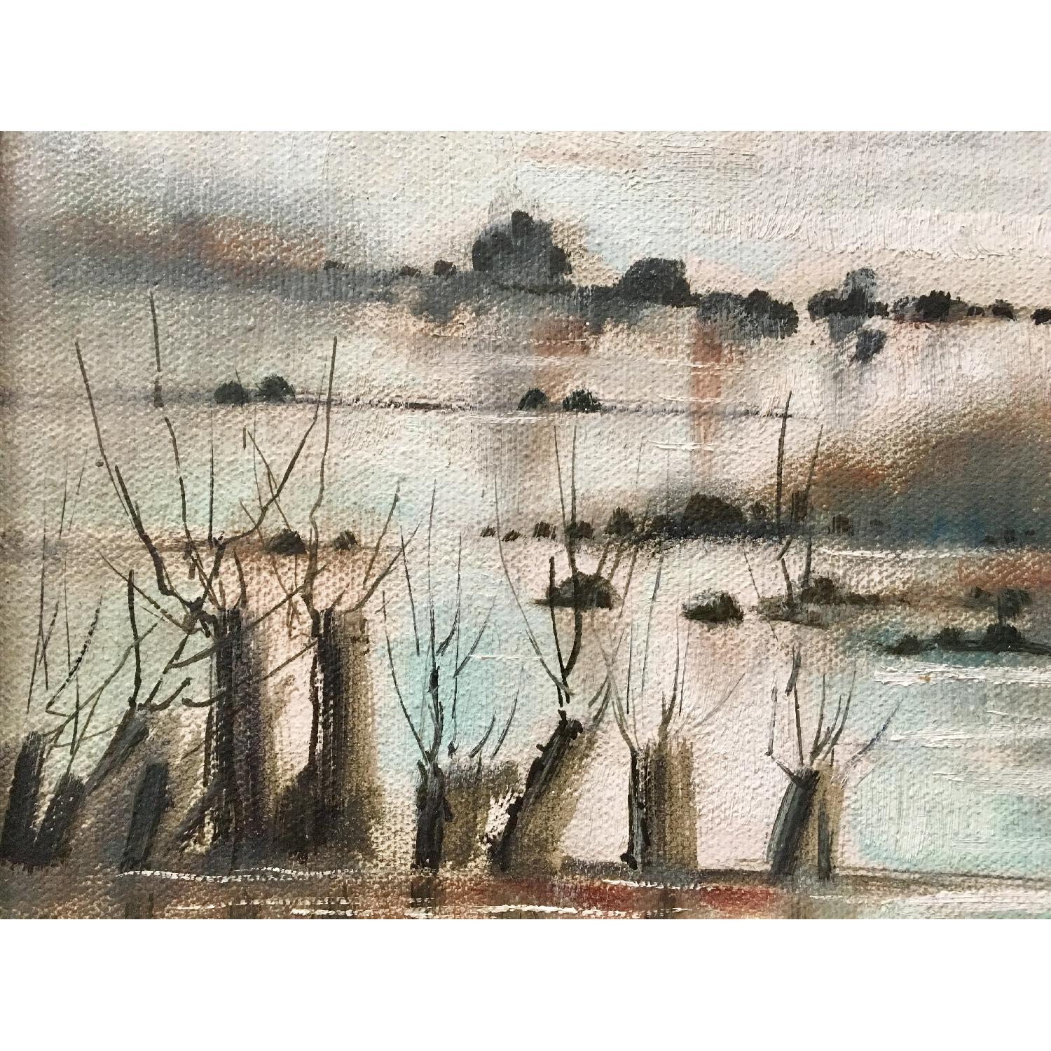 Vintage Dreamy Beach Waterscape Painting - image-6