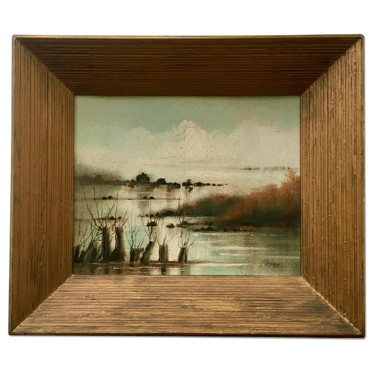 Vintage Dreamy Beach Waterscape Painting - image-0