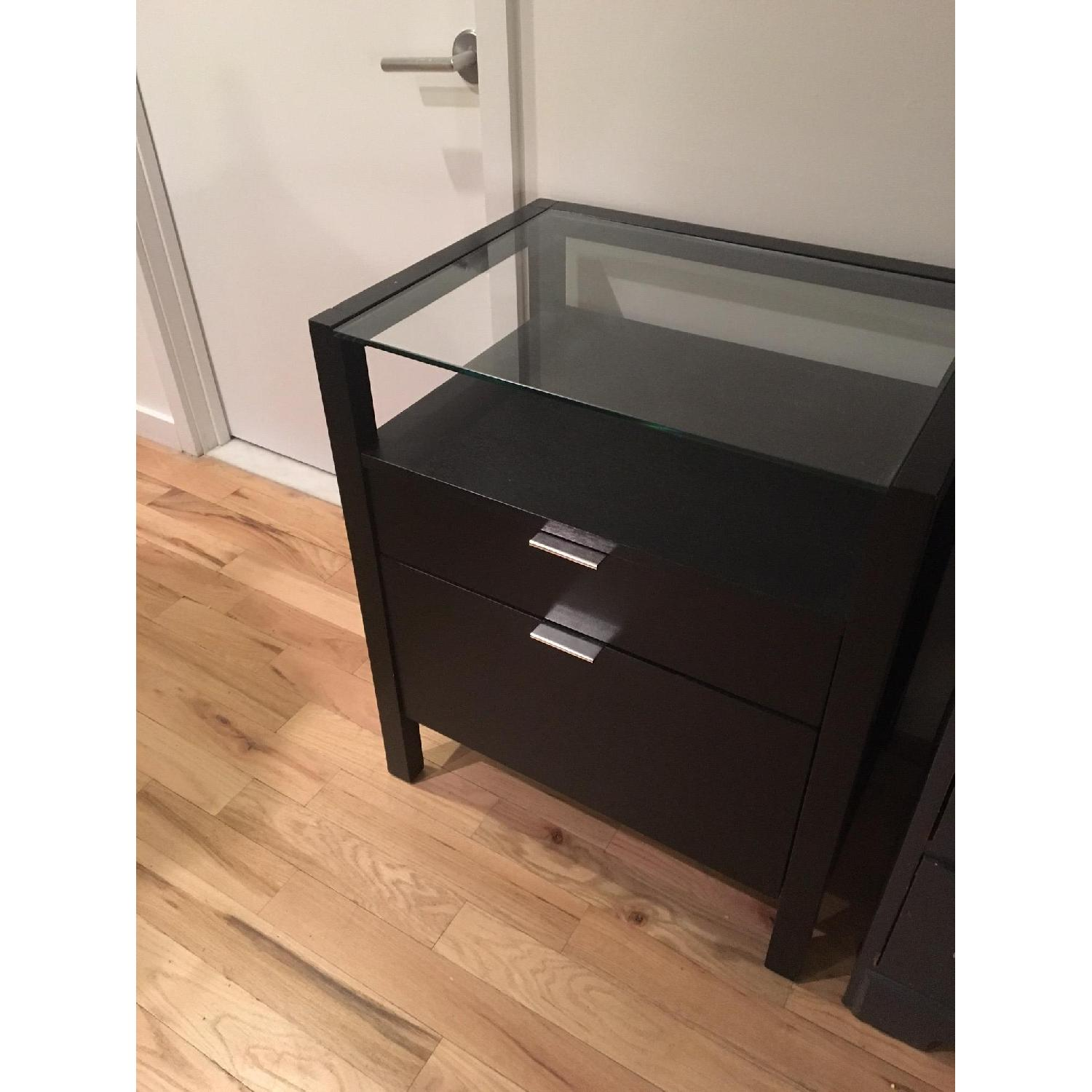 Crate & Barrel Side Table with File Drawers - image-2