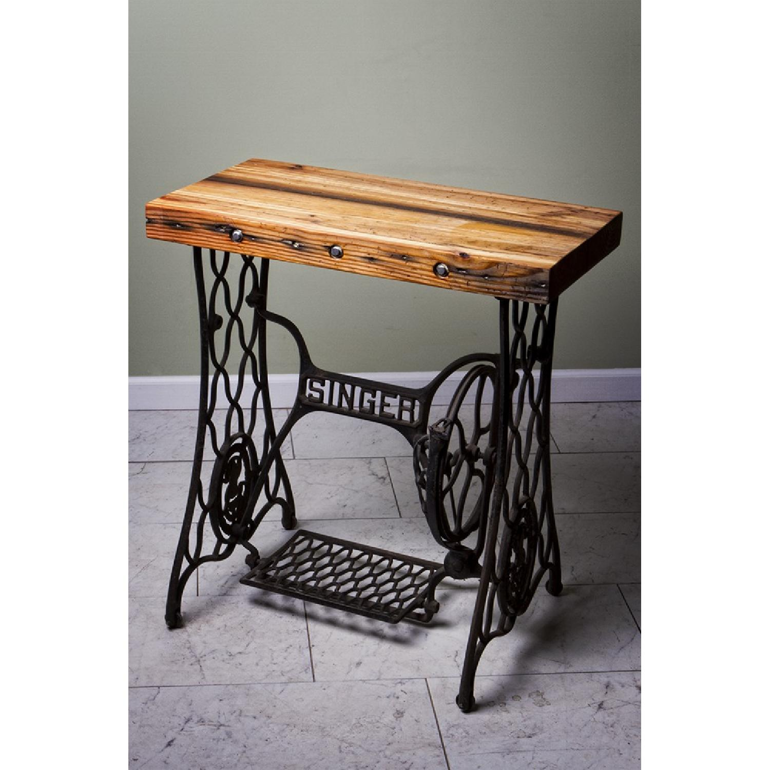 Reclaimed Heartwood Pine Side Table w/ Industrial Bolts and  - image-1