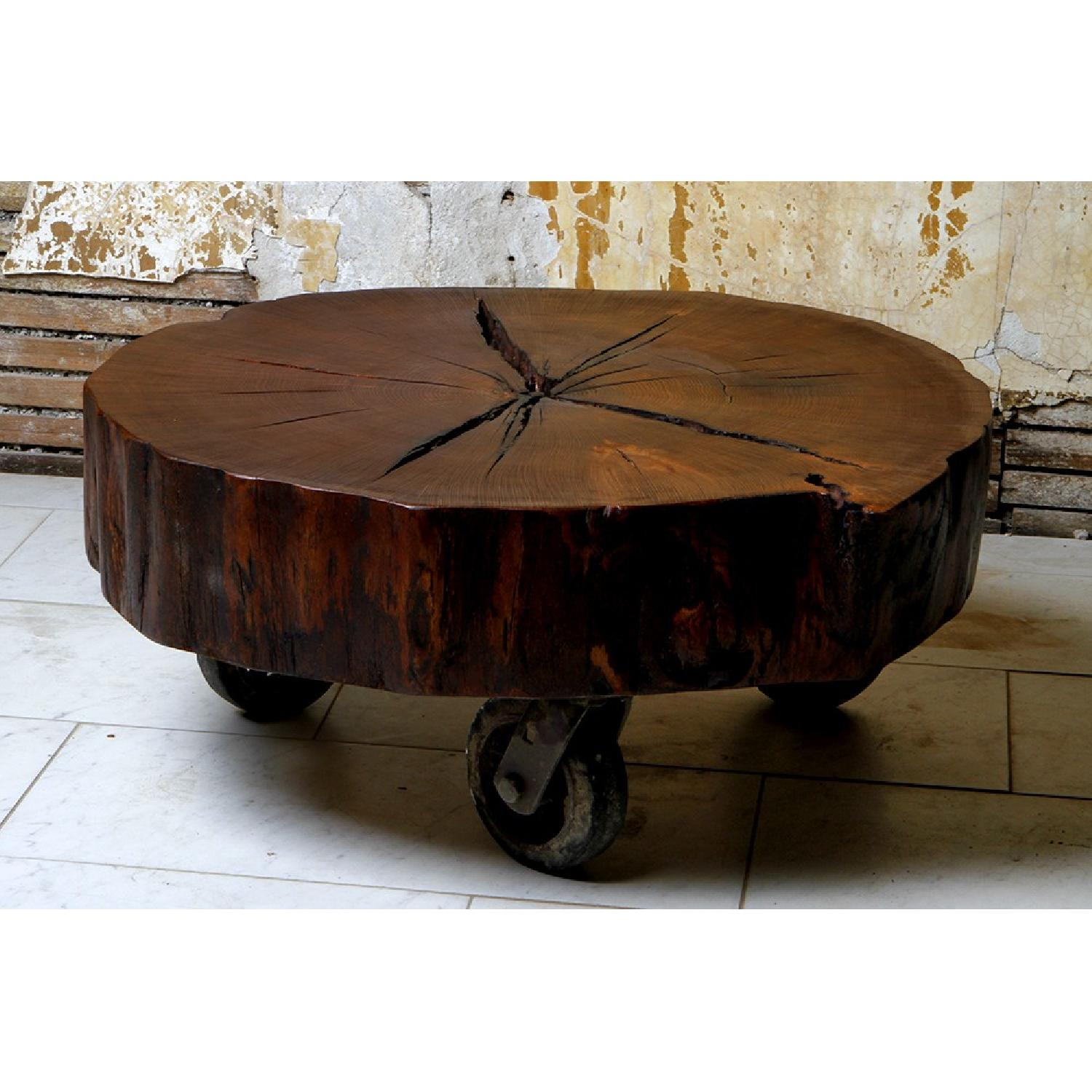 Reclaimed Oak Tree Trunk Table on Reclaimed Industrial Casters - image-1