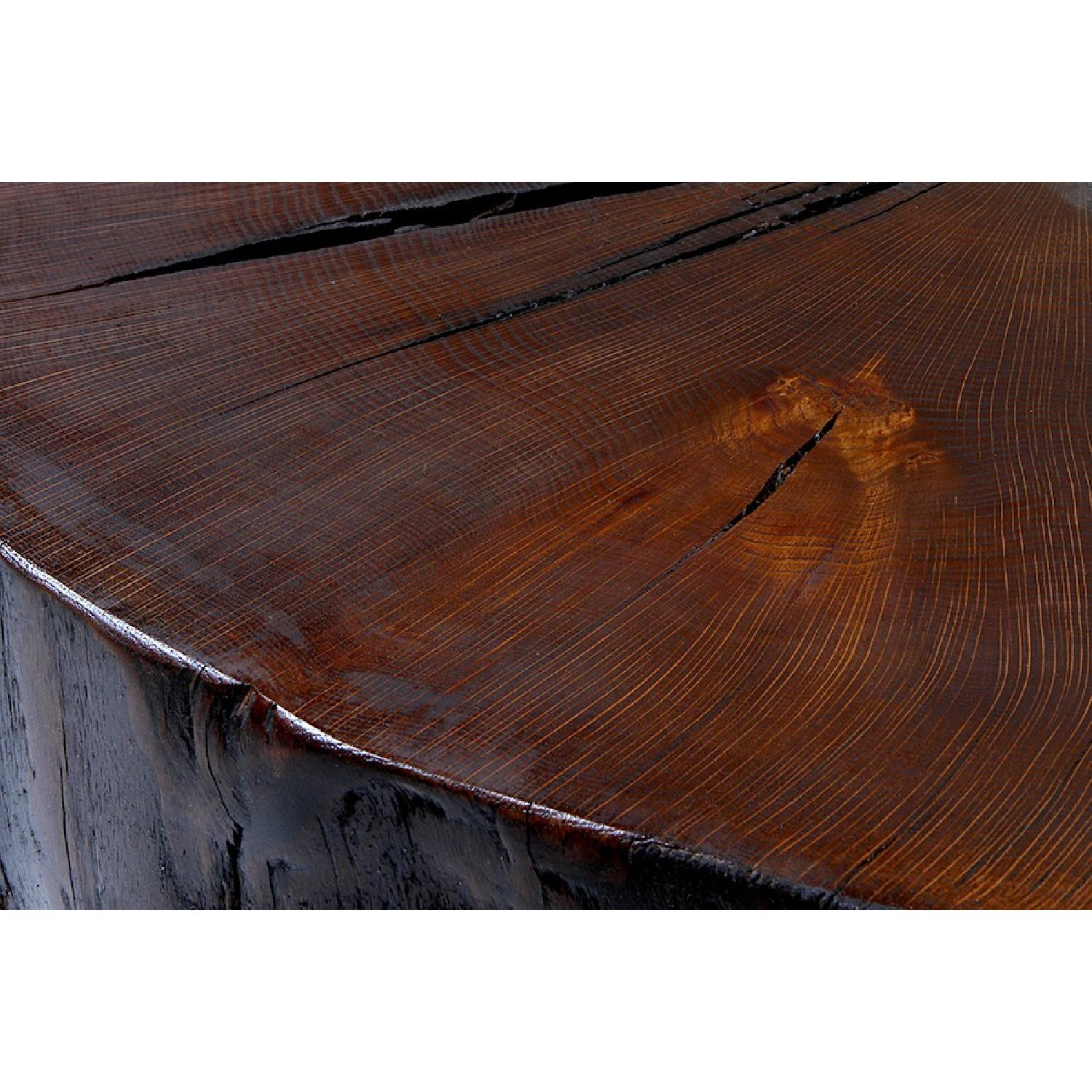 Reclaimed Oak Tree Trunk Table on Reclaimed Industrial Casters - image-2