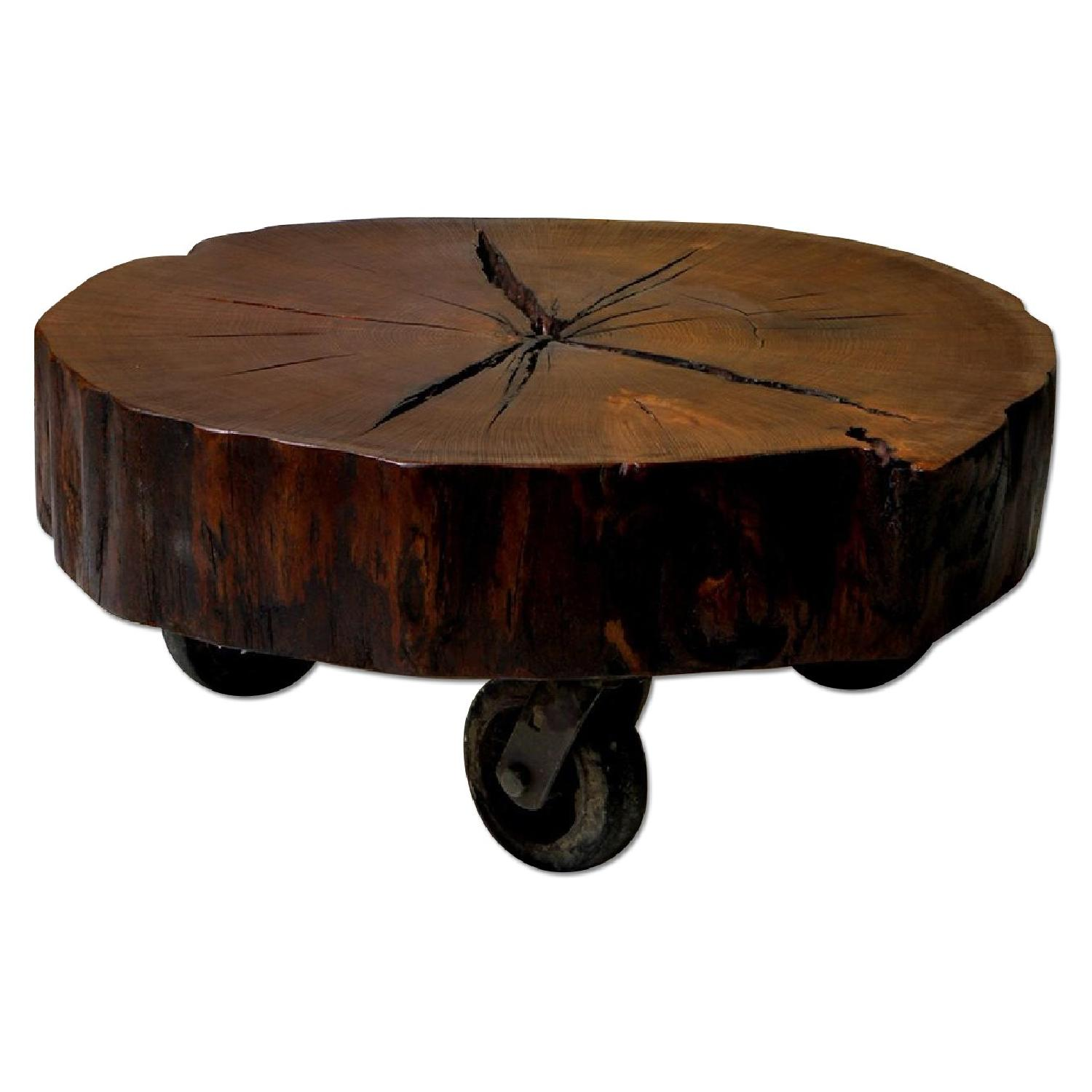 Reclaimed Oak Tree Trunk Table on Reclaimed Industrial Casters - image-0