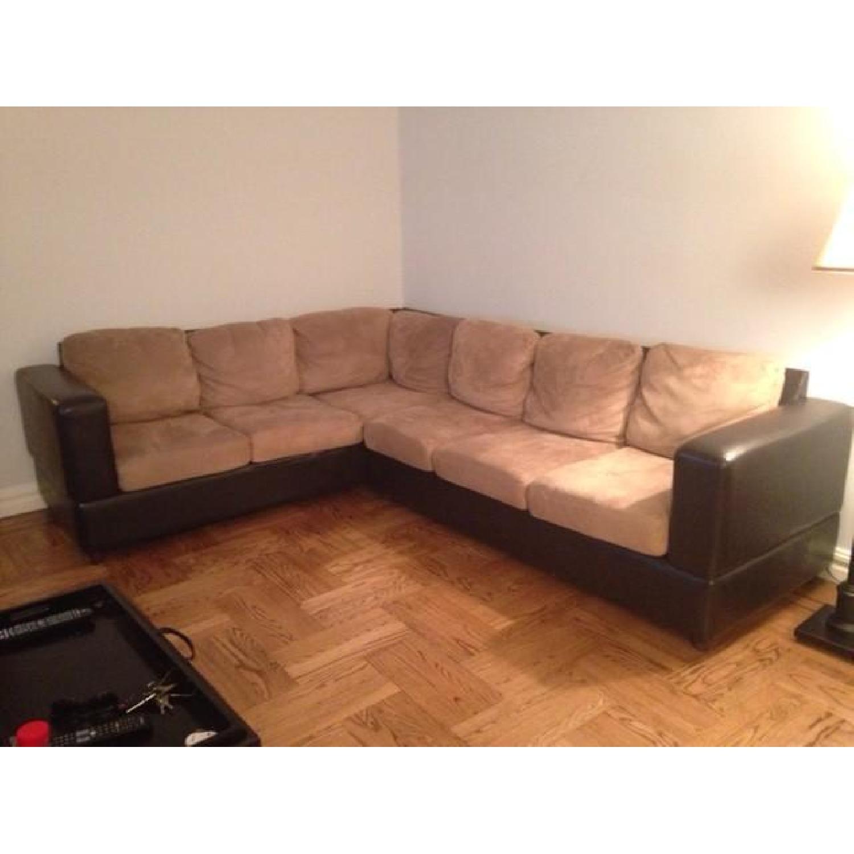 Raymour & Flanigan Leather/Fabric Sectional Sofa - image-1
