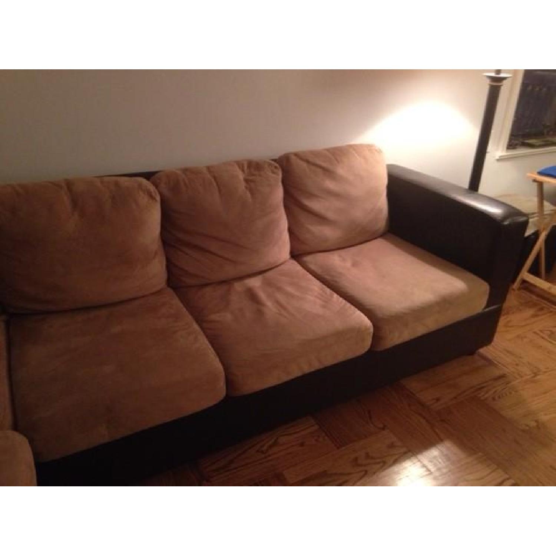 Raymour & Flanigan Leather/Fabric Sectional Sofa - image-2