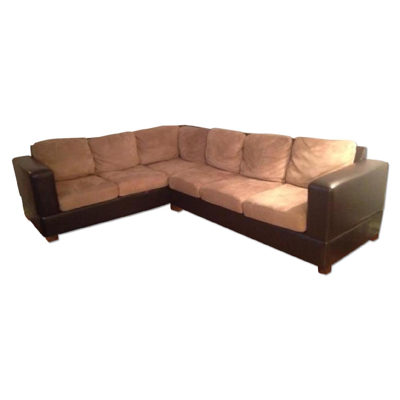 Raymour & Flanigan Leather/Fabric Sectional Sofa - image-0