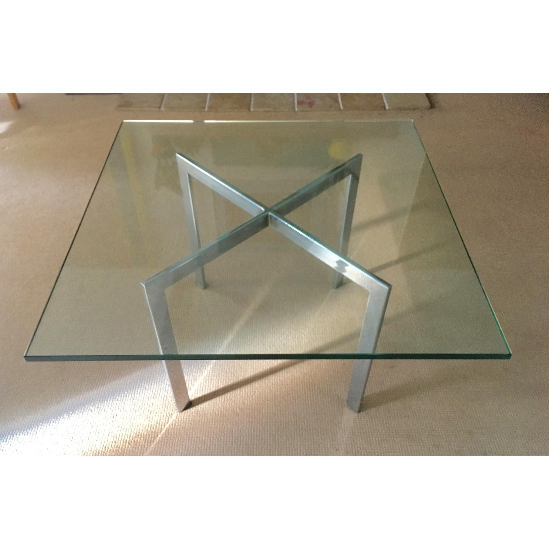 Barcelona Style Glass & Chrome Coffee Table - image-1