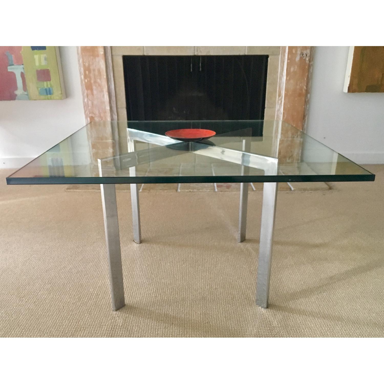 Barcelona Style Glass & Chrome Coffee Table - image-2