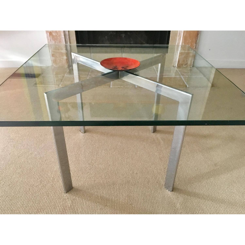 Barcelona Style Glass & Chrome Coffee Table - image-3