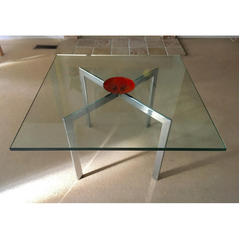 Barcelona Style Glass & Chrome Coffee Table - image-4