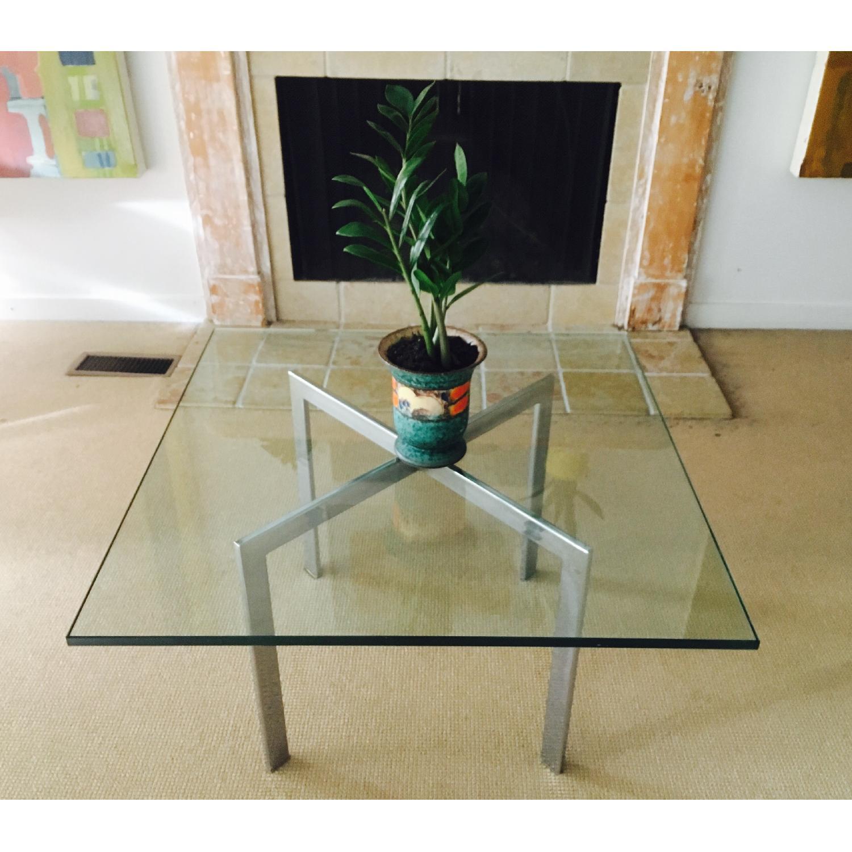 Barcelona Style Glass & Chrome Coffee Table - image-5