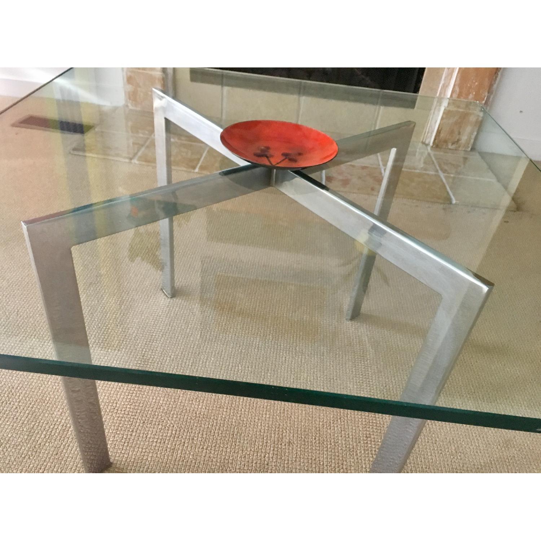 Barcelona Style Glass & Chrome Coffee Table - image-6