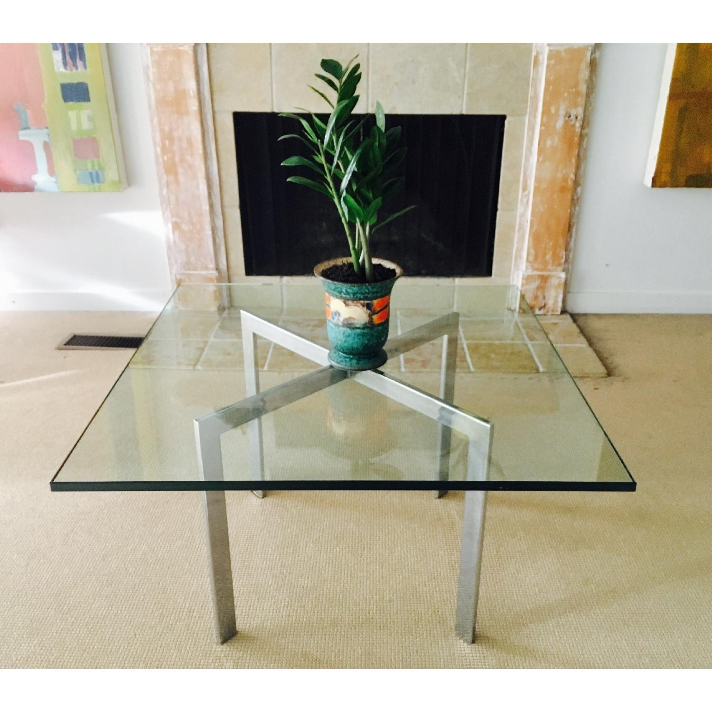 Barcelona Style Glass & Chrome Coffee Table - image-7