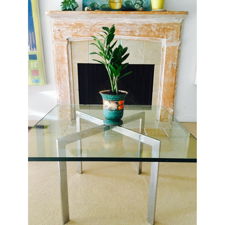 Barcelona Style Glass & Chrome Coffee Table - image-8