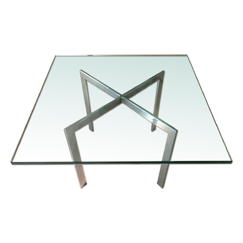 Barcelona Style Glass & Chrome Coffee Table - image-0