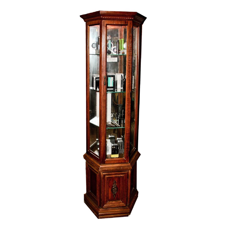 Vintage Detailed Wood Display Case w/ 3 Glass Shelves - image-0