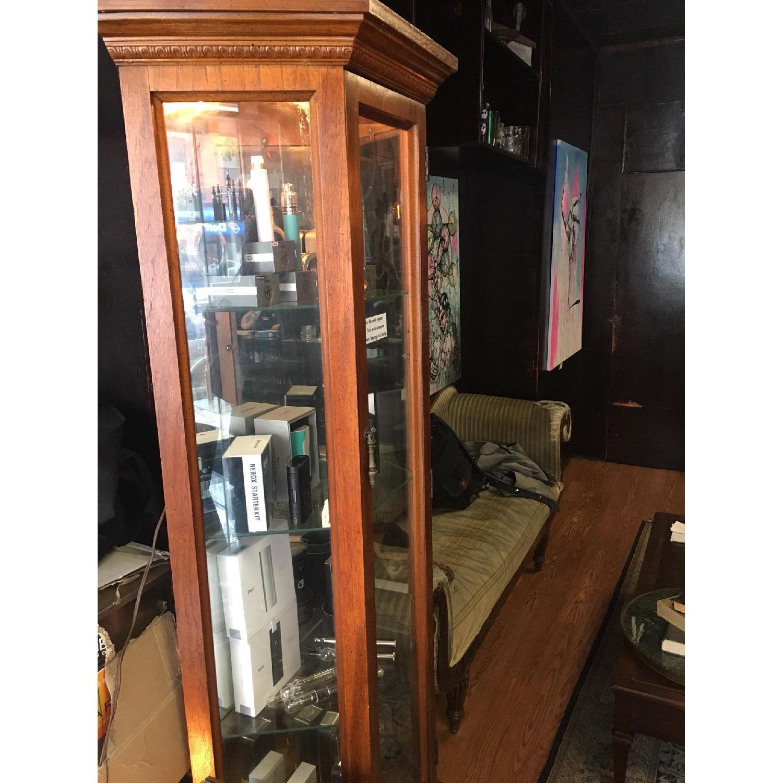 Vintage Detailed Wood Display Case w/ 3 Glass Shelves - image-1