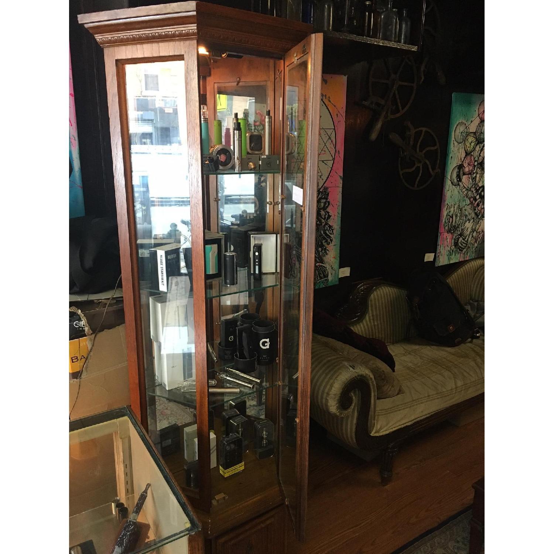 Vintage Detailed Wood Display Case w/ 3 Glass Shelves - image-2