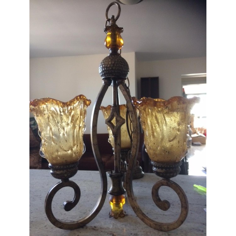Amber Art Glass Chandelier - image-1