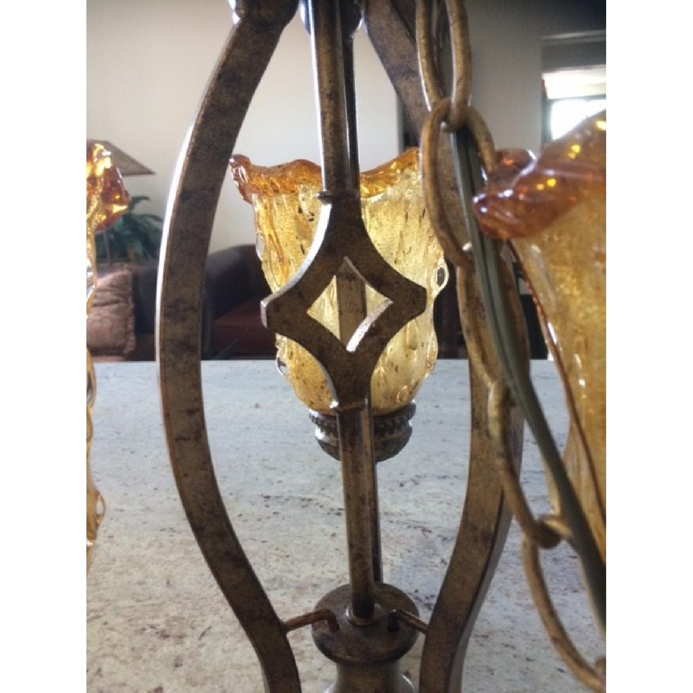 Amber Art Glass Chandelier - image-5
