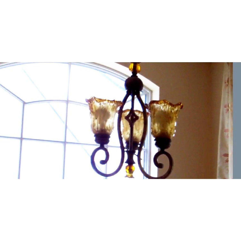 Amber Art Glass Chandelier - image-10