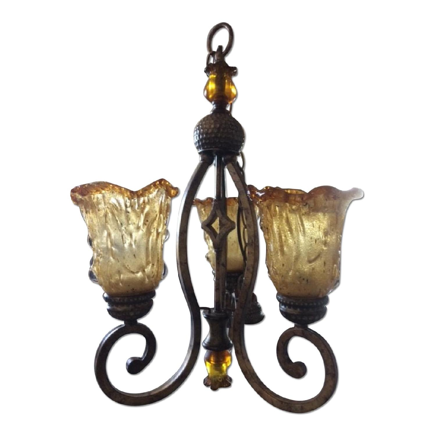 Amber Art Glass Chandelier