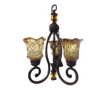 Amber Art Glass Chandelier