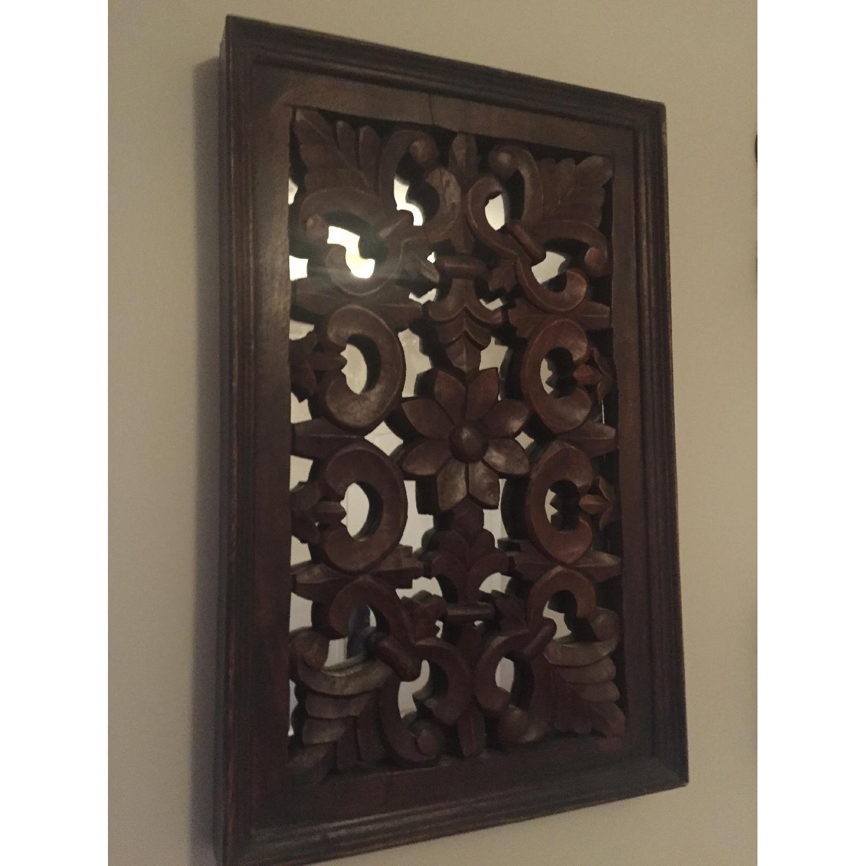 Vintage Carved Wood Lattice Panel w/ Mirror - image-1