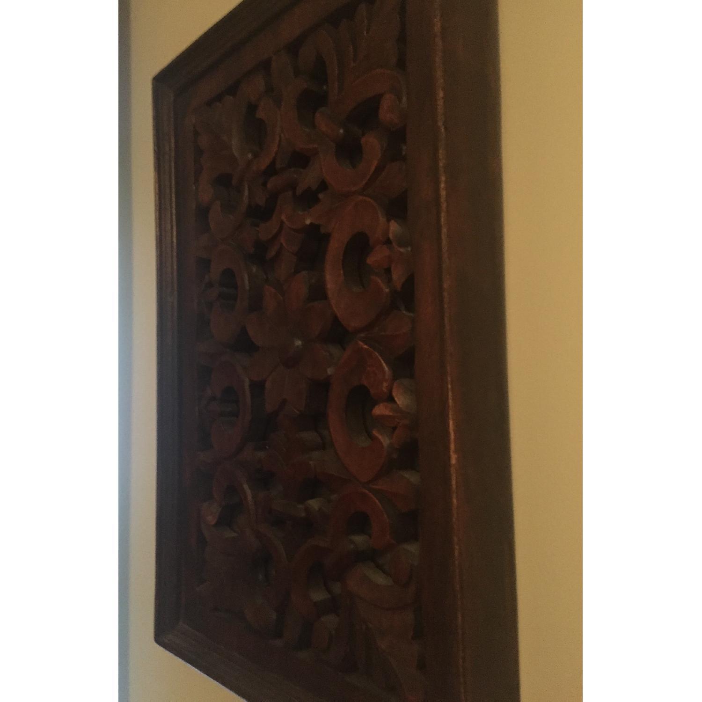 Vintage Carved Wood Lattice Panel w/ Mirror - image-2