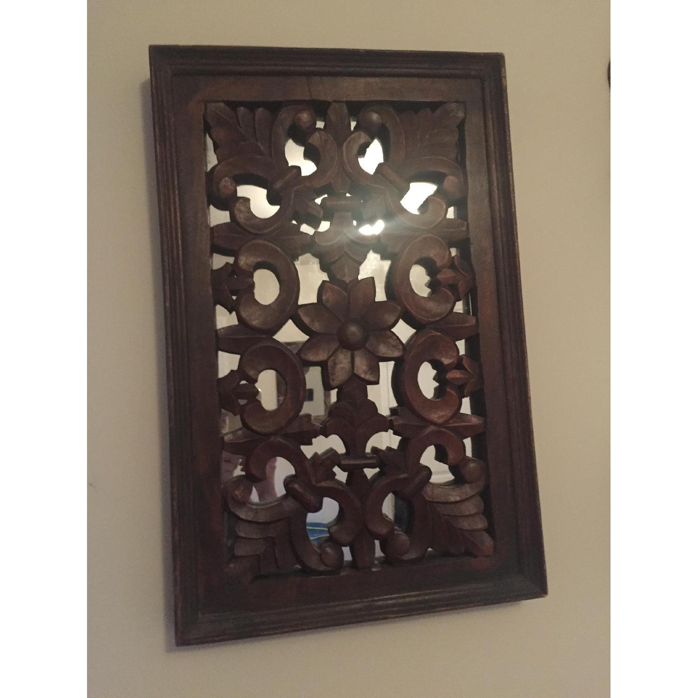 Vintage Carved Wood Lattice Panel w/ Mirror - image-3