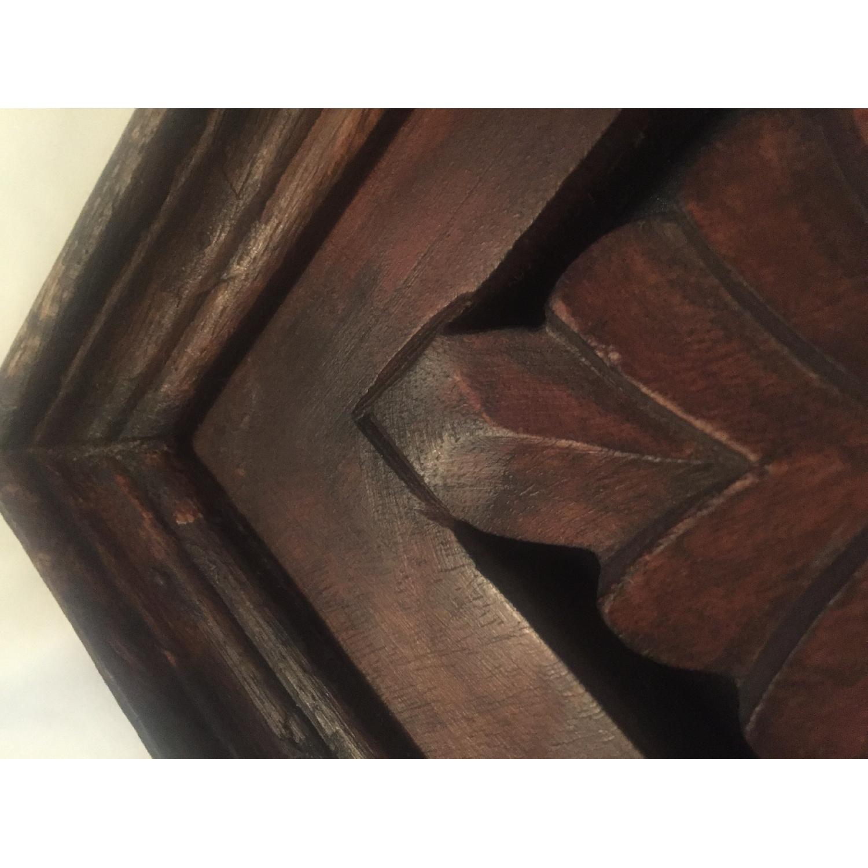 Vintage Carved Wood Lattice Panel w/ Mirror - image-5