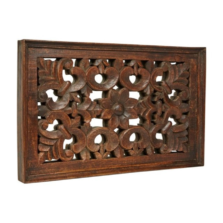 Vintage Carved Wood Lattice Panel w/ Mirror - image-7