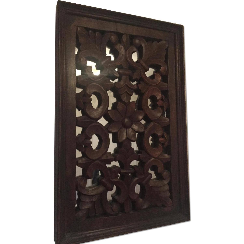 Vintage Carved Wood Lattice Panel w/ Mirror - image-0