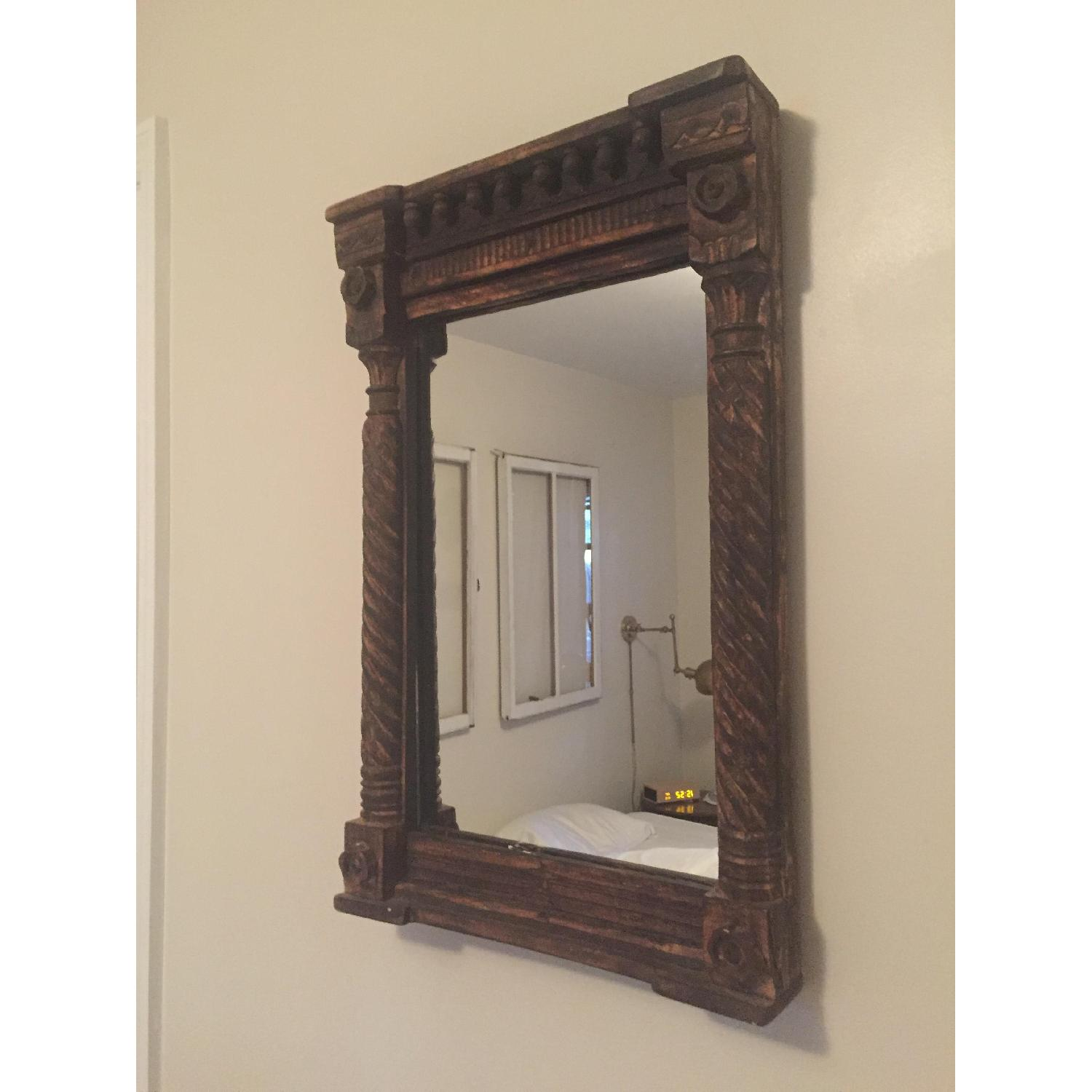 Hand Carved Indian Mirror - image-1